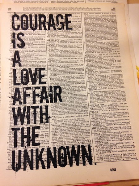 Dictionary Page Print - Courage is a love affair with the unknown. -Osho