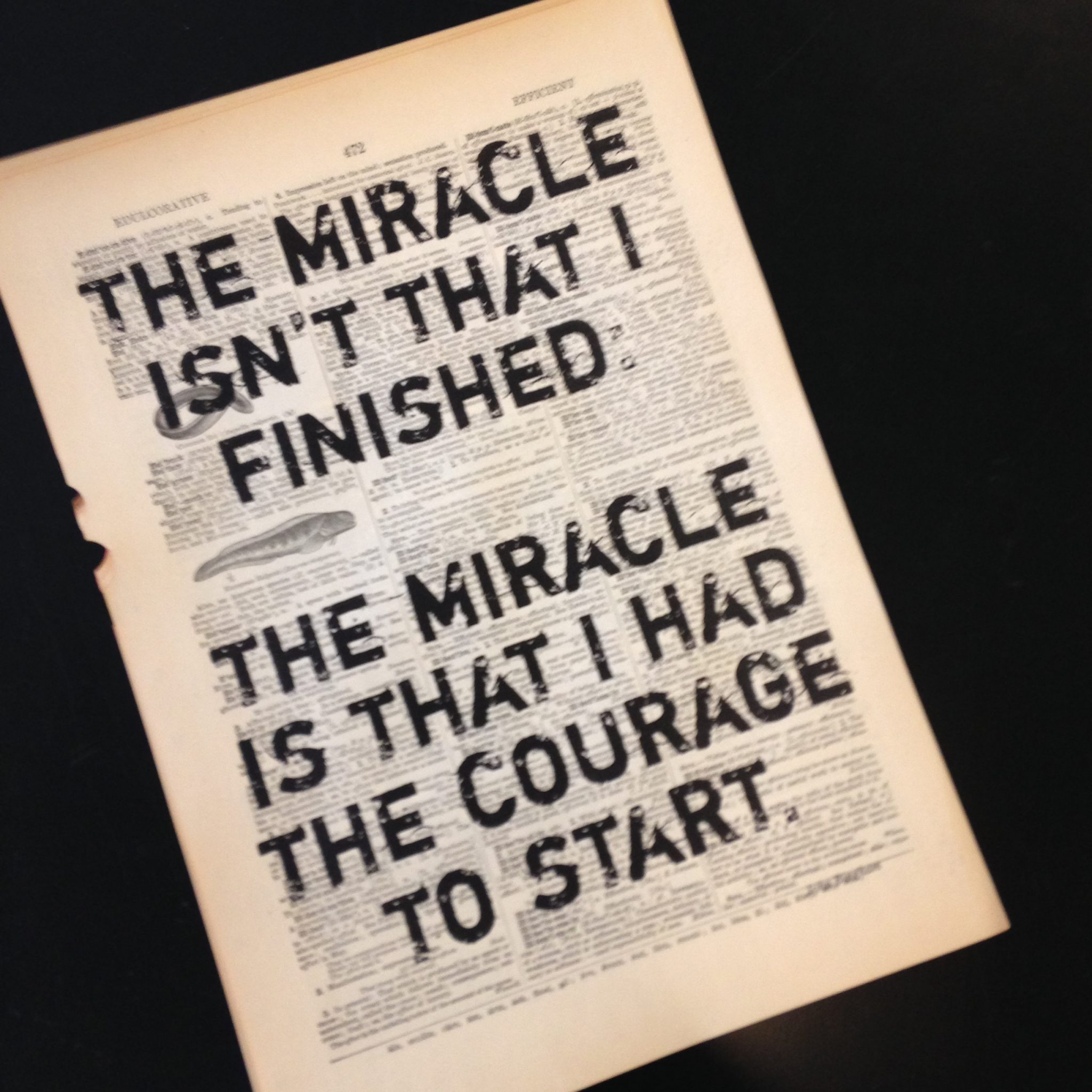 Dictionary Page Print - The miracle isn't that I finished...John Bingham quote