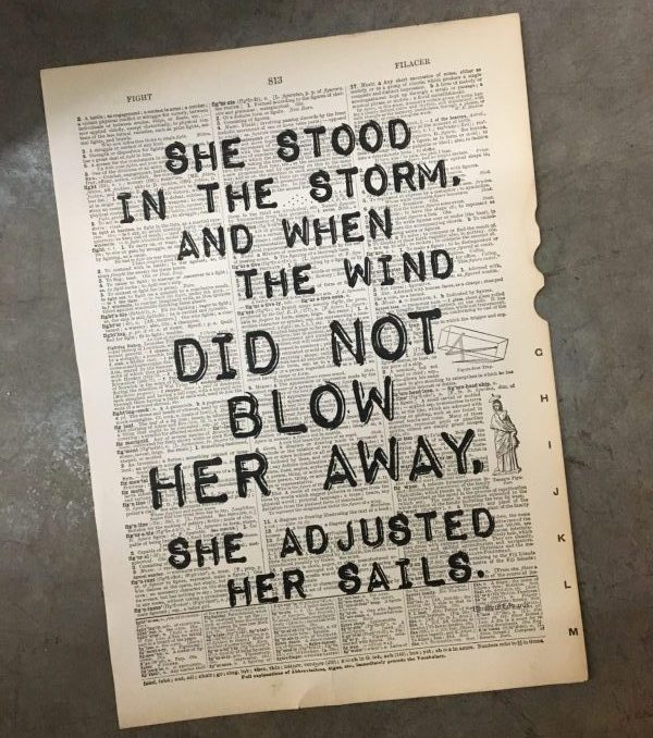 Dictionary Page Print - She stood in the storm...Elizabeth Edwards quote