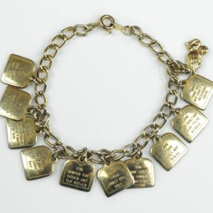 Ten Commandments Vintage Silver Tone Charm Bracelet