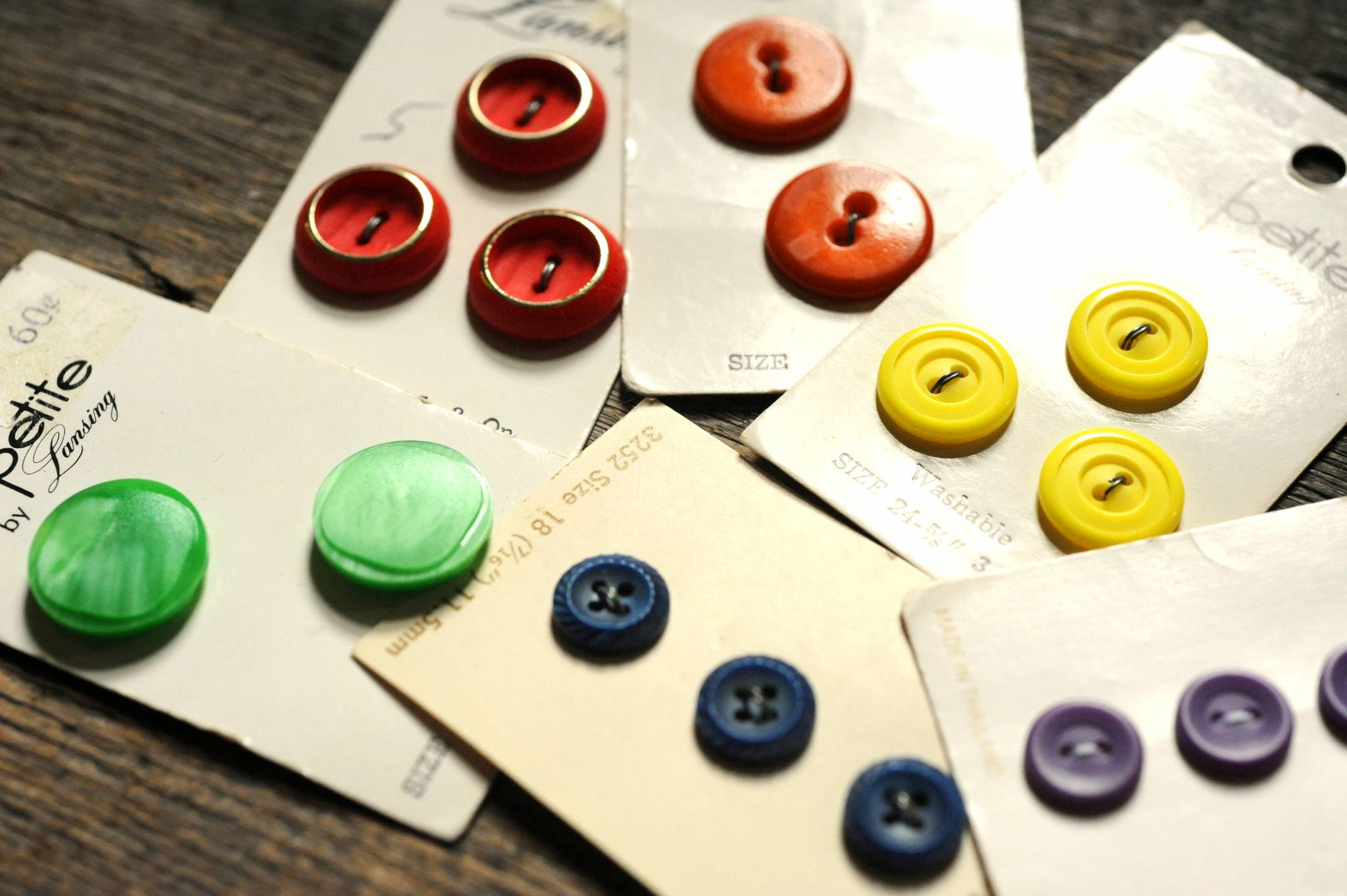 6 cards of vintage 1960s-1980s new old stock buttons - rainbow