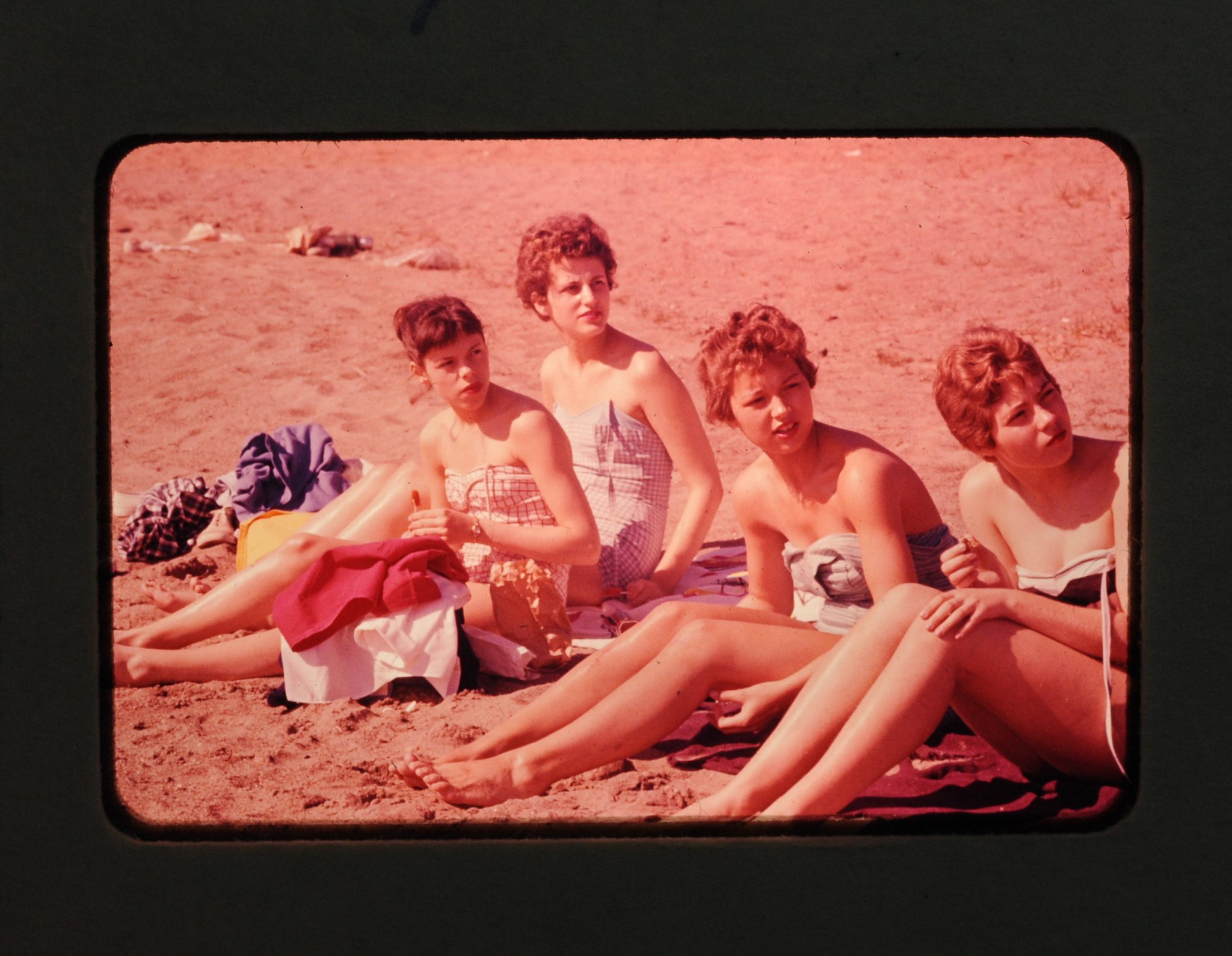 Box of 15 Vintage 1950s Slides - day at the beach and other miscellaneous photos