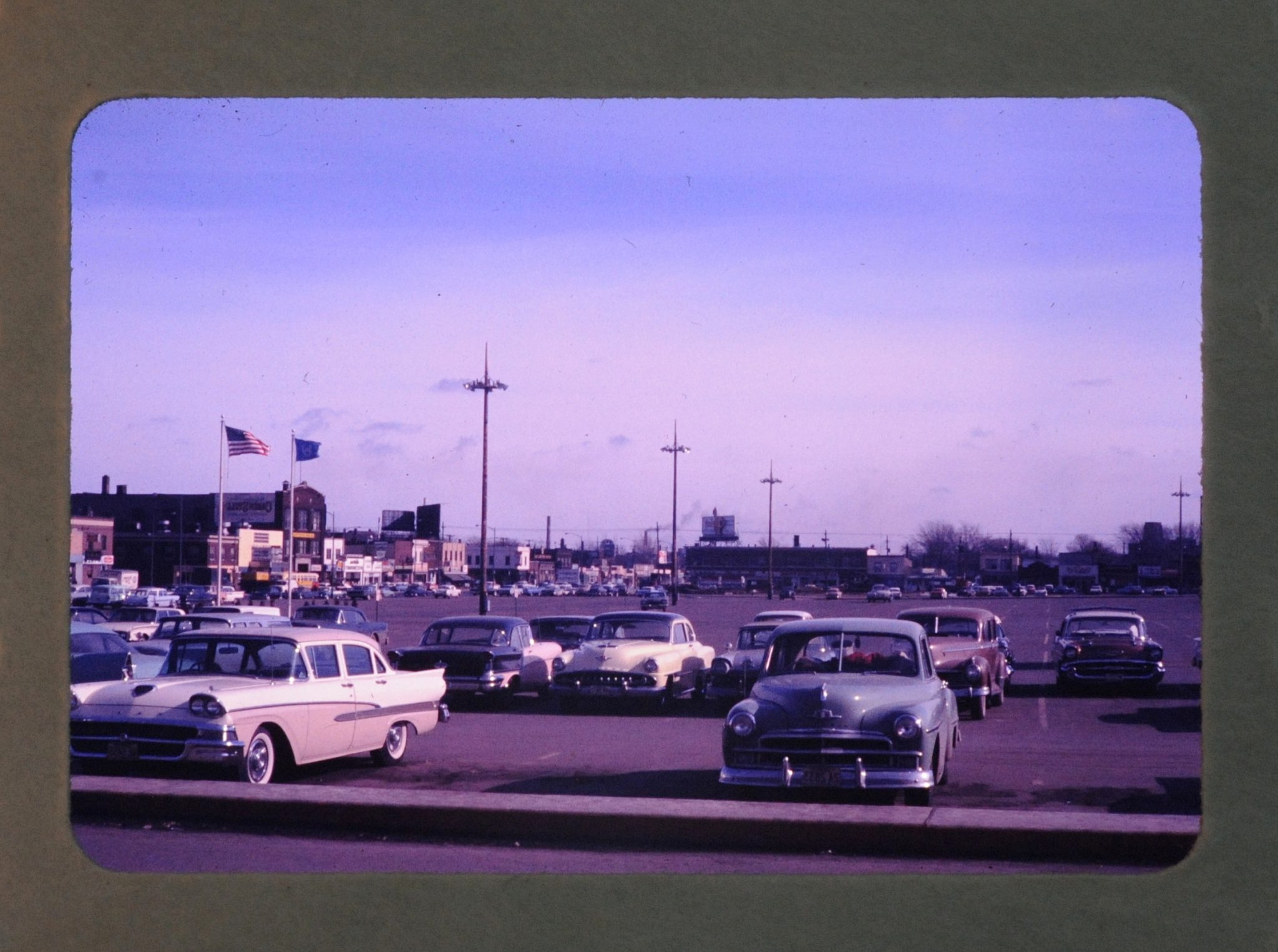 Box of 17 Vintage Slides - Minneapolis sunset, old cars, woman in kitchen