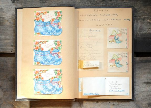 Baby's First Scrapbook - 1948 - full of vintage cards and writings