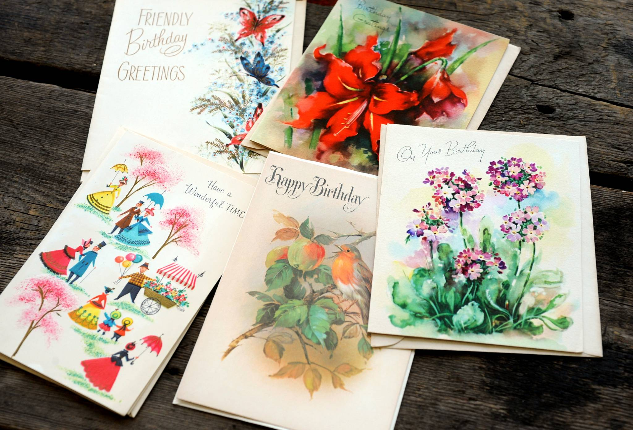 Mystery grab big of five vintage unused vintage birthday cards