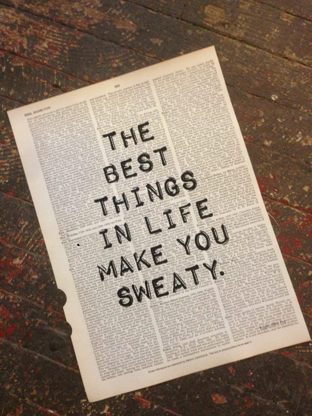 Dictionary Page Print - The best things in life make you sweaty. -Edgar Allen Poe