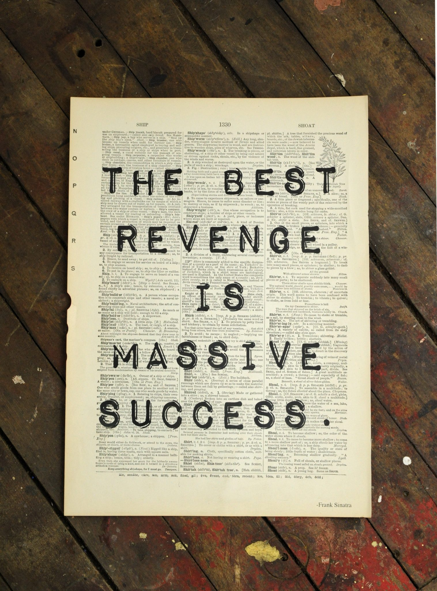Dictionary Page Print - The best revenge is massive success. -Frank Sinatra