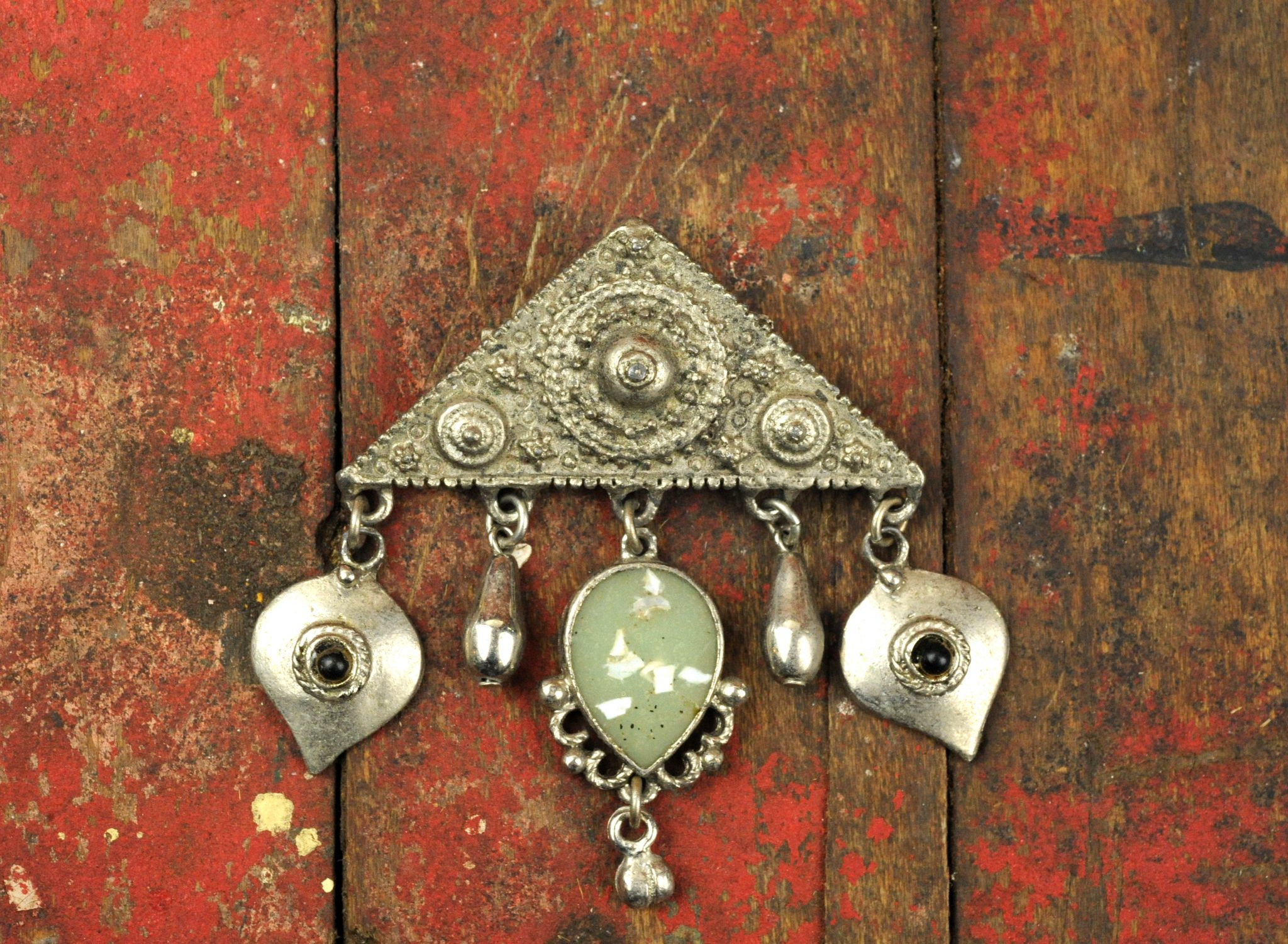 Silver Tone Triangle Brooch with Tassels