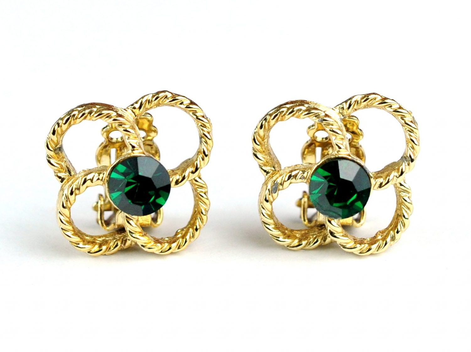 Green and Gold Twisted Rope Clip On Earrings