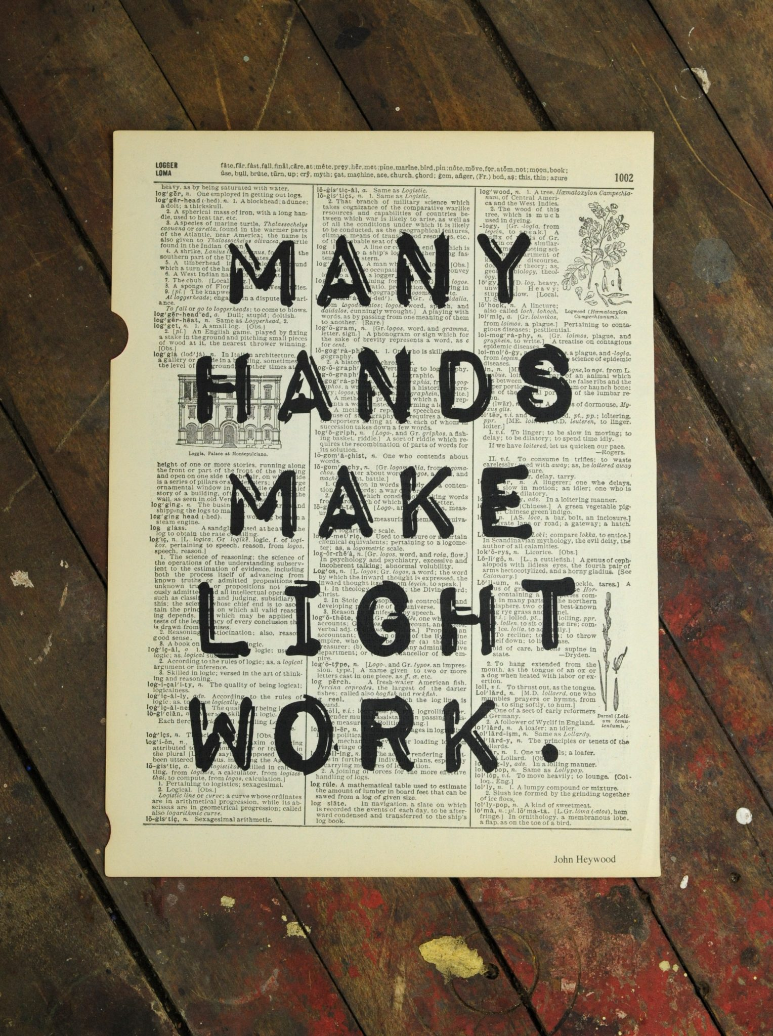 Dictionary Page Print - Many hands make light work.
