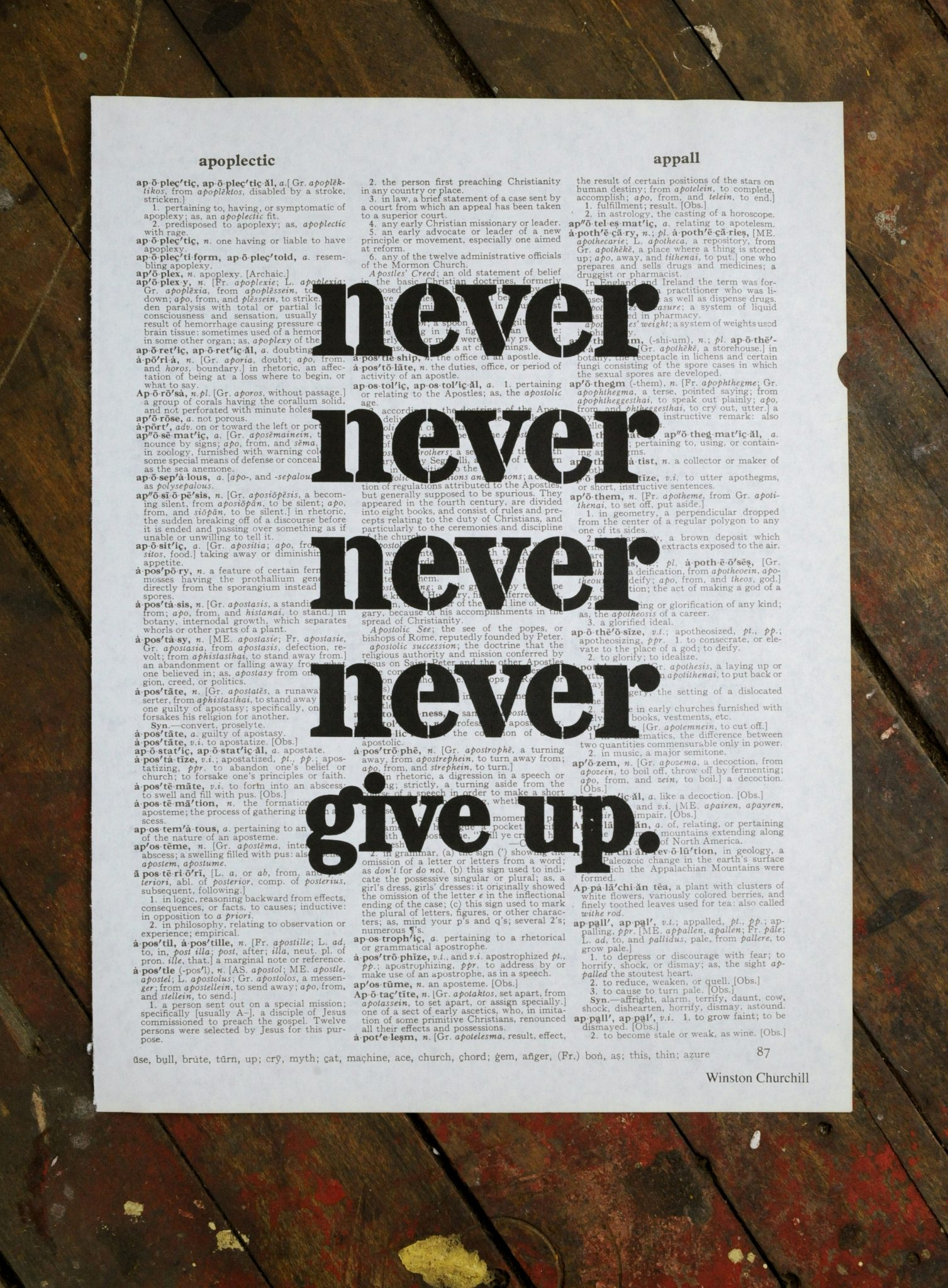 Dictionary Page Print - Never, never, never, never give up. -Winston Churchill