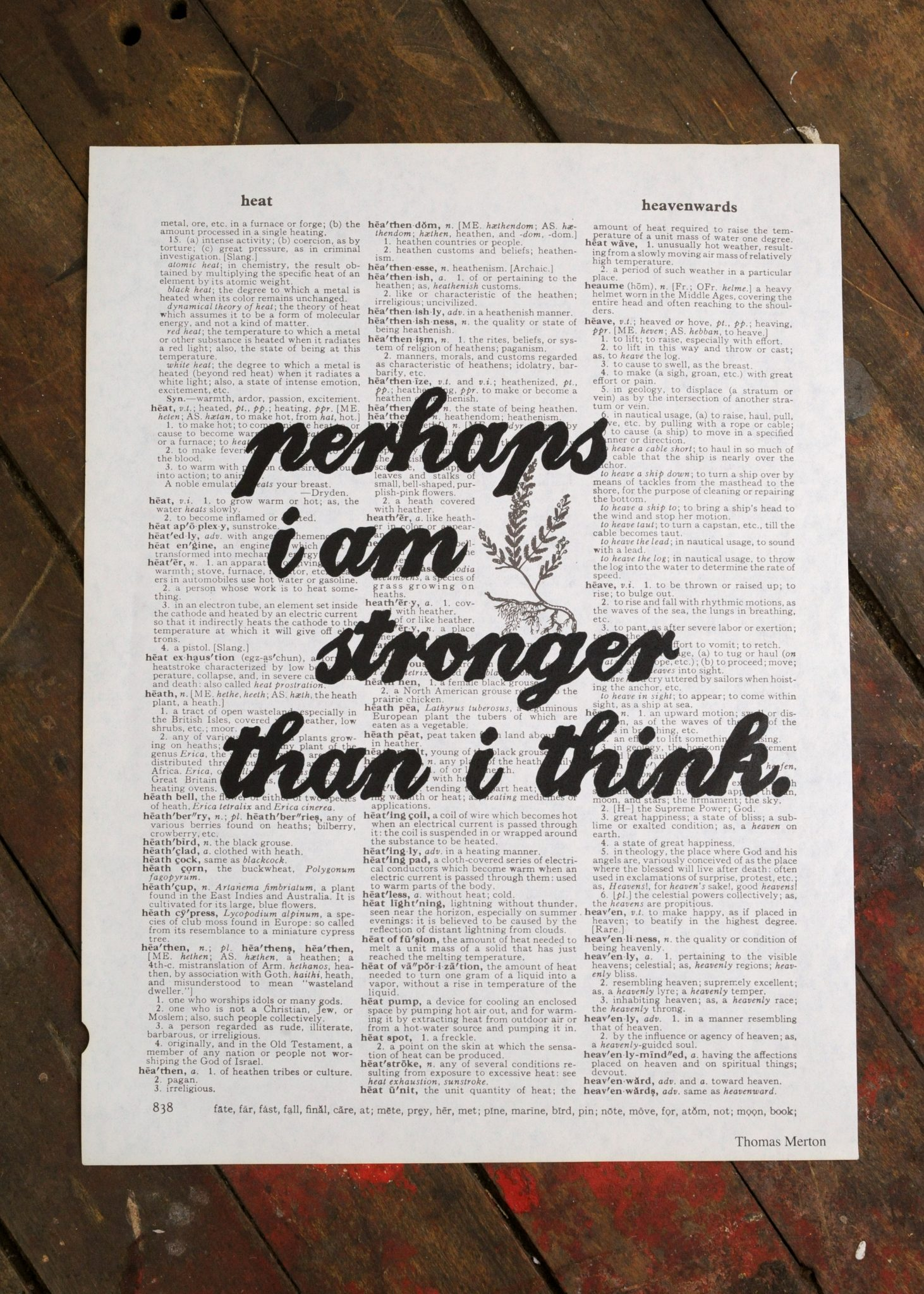 Dictionary Page Print - Perhaps I am stronger than I think. -Thomas Merton