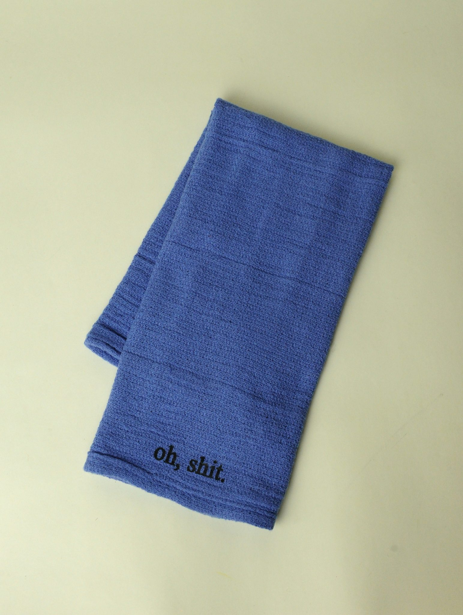 Re-purposed 100% Cotton Blue Surgical Hand Towel - Oh, shit.