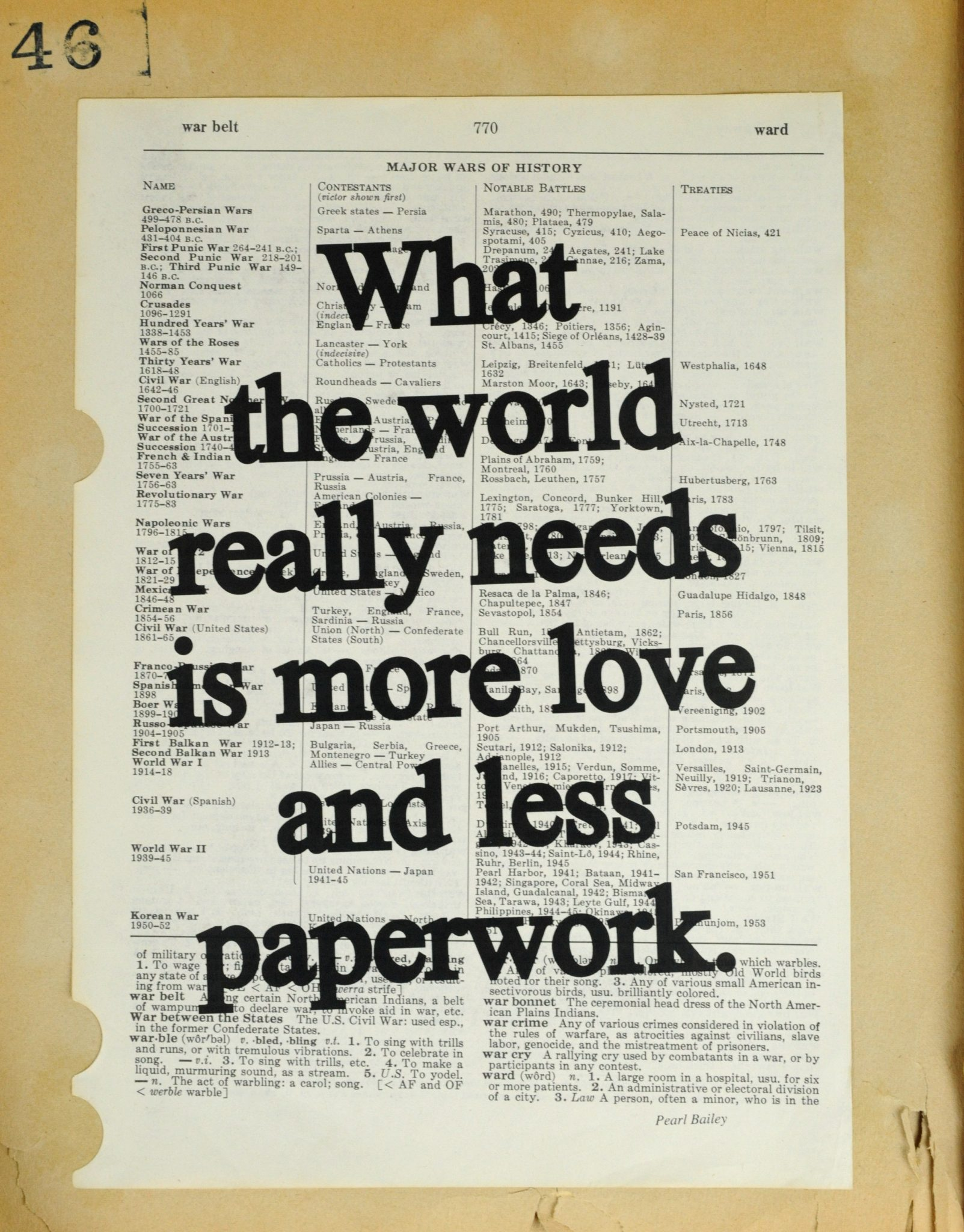Dictionary Page Print - What The World Really Needs...Pearl Bailey quote